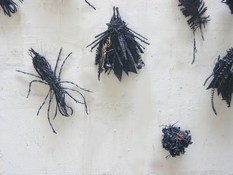 Gilda Pervin Insectsaside Burlap, acrylic paint, twine, found objects