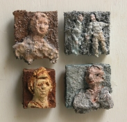 Gilda Pervin Small figurative reliefs Portland cement, sand, acrylic medium, wood putty, acrylic paint, on wood