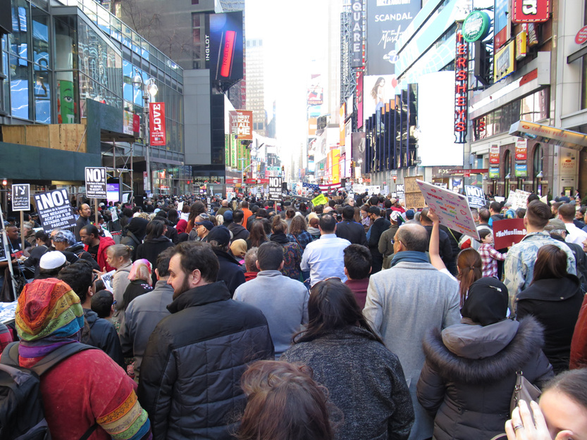 • PEOPLE I Am a Muslim Too Rally, Times Square NYC