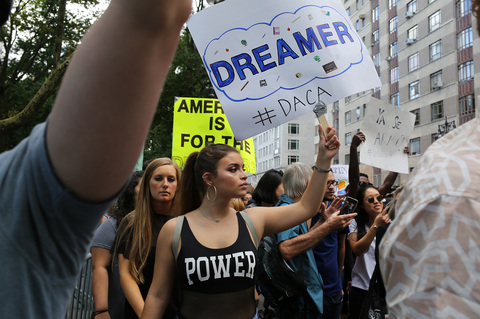 Gina Randazzo Rally For DACA And All Immigrants NYC 9/9/17
