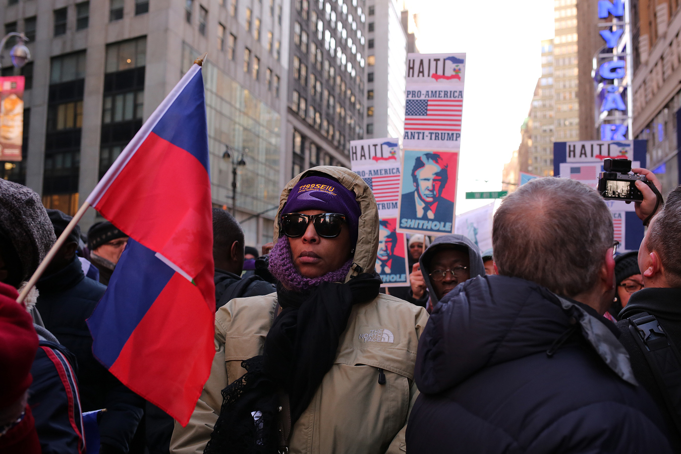 USA 2017- Martin Luther King Day 1199 SEIU United Healthcare Workers East Rally Against Racism: Stand Up for Haiti and Africa Times Square 1/15/18