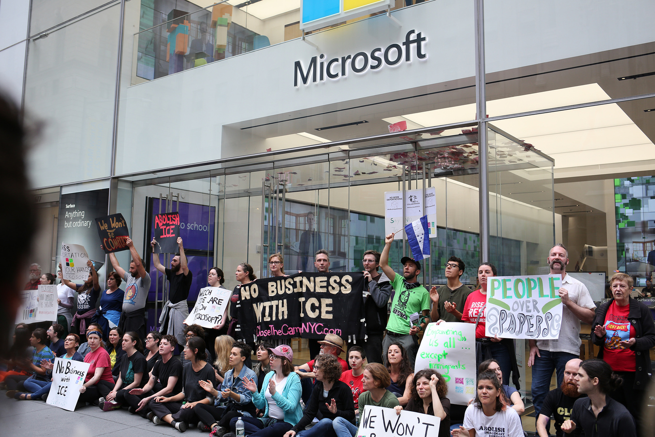 Close The Camps No Business With ICE Microsoft Flapship Store NYC 9/14/19