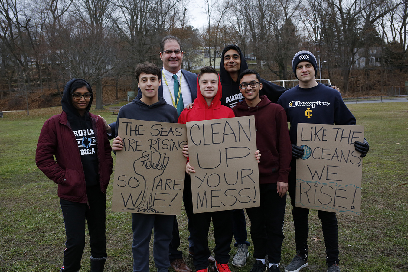 Rivertowns Climate Rally Ardsley Middle School 12/6/19 Dr Ryan Schoenfeld, Superintendent of Ardsley Union Free School District, standing with his students