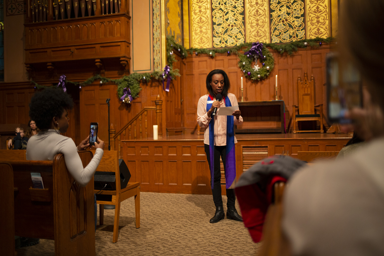 "Say No To War Interfaith Peace Vigil Middle Collegiate Church 1/7/20 Welcome and song ""Let There Be Peace On Earth"" from Natalie Perkins, Digital Minister, Middle Collegiate Church"