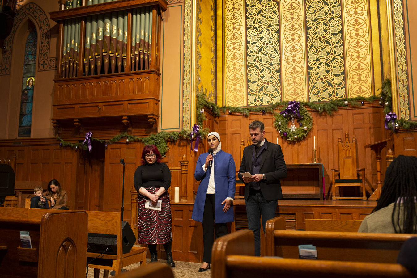 Say No To War Interfaith Peace Vigil Middle Collegiate Church 1/7/20 Interfaith Prayers for Peace Madge Dietrich,Tahanie Aboushi & Will Critzman, Sr. Pastor West End Colliegiate Church