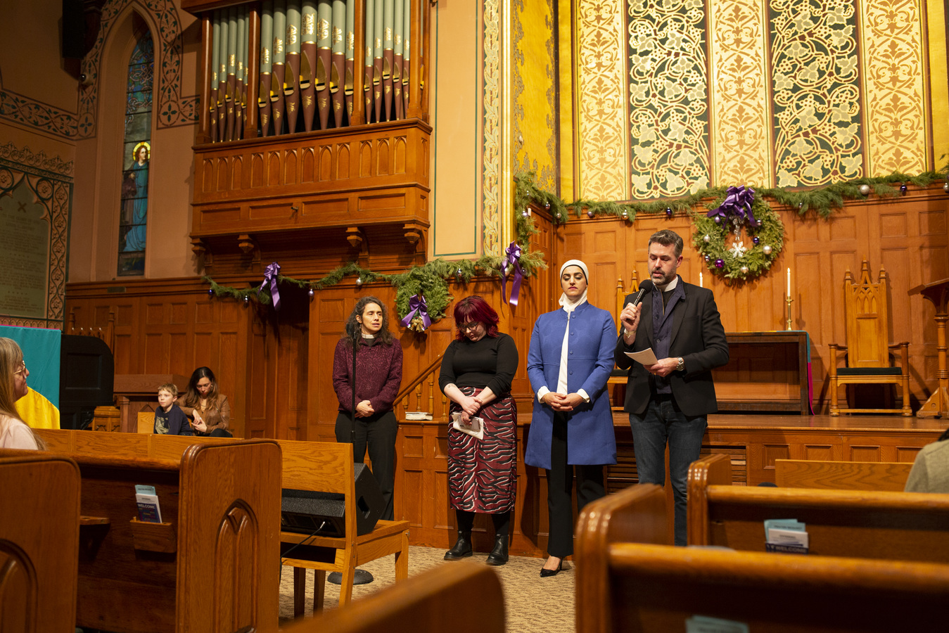 Say No To War Interfaith Peace Vigil Middle Collegiate Church 1/7/20 Interfaith Prayers for Peace Rev. Chole Breyer, Madge Dietrich, Tahanie Aboushi & Will Critzman, Sr. Pastor West End Colliegiate Church