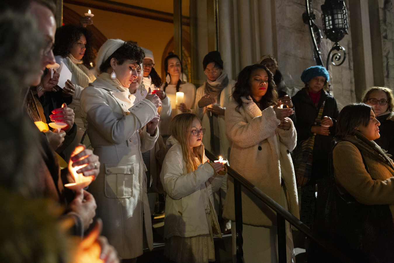 "Say No To War Interfaith Peace Vigil Middle Collegiate Church 1/7/20 The Resistance Revival Chorus sang ""Give Peace A Chance"" as the community moved to the church steps for the candlelight vigil for peace"
