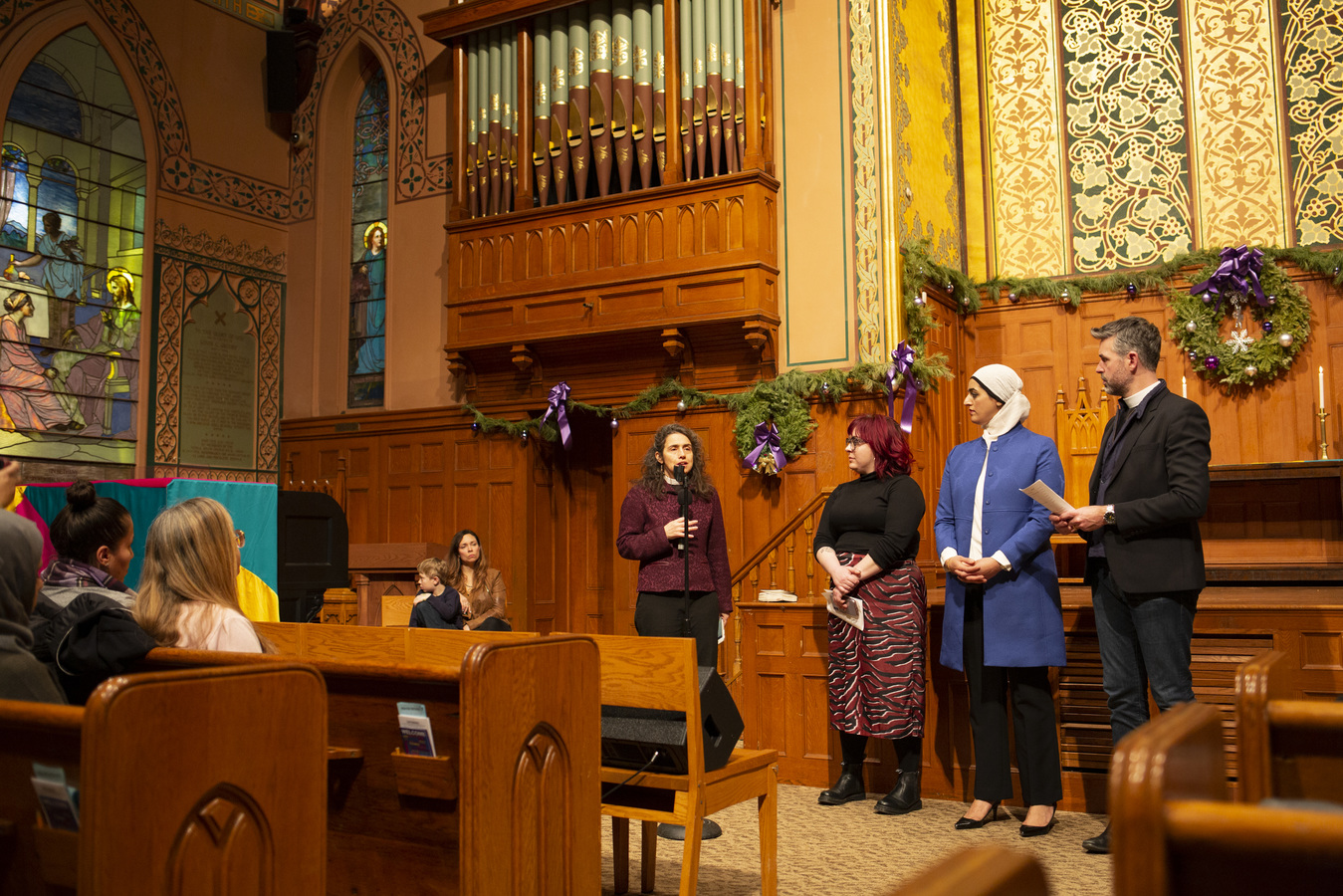 Say No To War Interfaith Peace Vigil Middle Collegiate Church 1/7/20 Interfaith Prayers for Peace Rev. Chole Breyer, Madge Dietrich,Tahanie Aboushi & Will Critzman, Sr. Pastor West End Colliegiate Church
