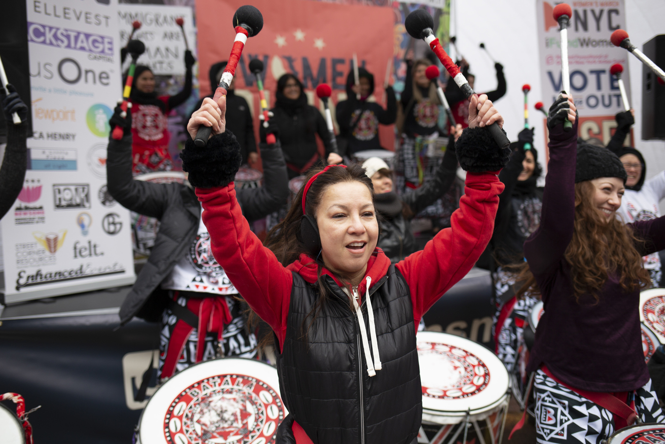 Womens March Foley Square 1/18/20 Batala NYC performs