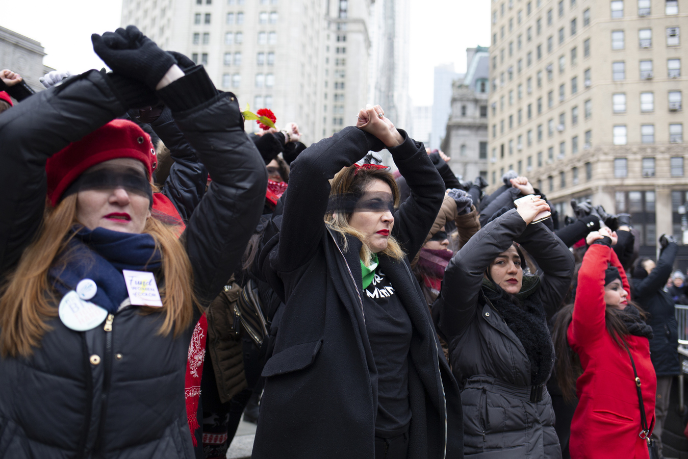 "Womens March Foley Square 1/18/20 Recreating the Chilean feminist collective Las Tesis action ""Un Violador En Tu Camino"" A Rapist In Our Path"