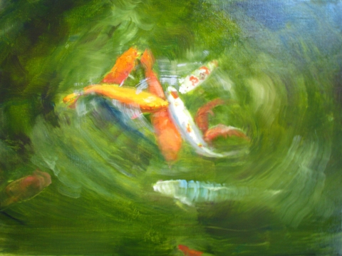 DANA GOODFELLOW KOI SERIES OIL ON LINEN
