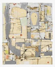 Gordon Powell Recent Work pattern paper, dyed glue, paint, pencil