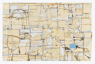 Gordon Powell Recent Work pattern paper, dyed glue, paint, pencil mounted on aluminum armature