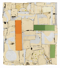 Gordon Powell Recent Work pattern paper, dyed glue, paint, pencil mounted on aluminum armature 49 x 38 inches