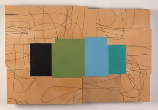 Gordon Powell Recent Work oil on mdf with lser cut lines