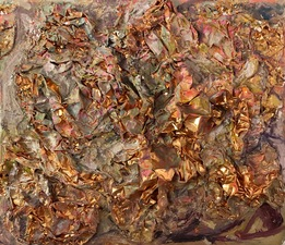 Guy Romagna new paintings oil paint and tooling foil on honeycomb cardboard