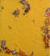 Guy Romagna yellow paintings oils and aluminum on honeycomb cardboard