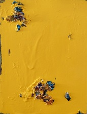 Guy Romagna yellow paintings oil paint and aluminum on honeycomb cardboard