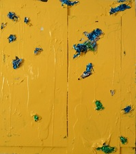 Guy Romagna yellow paintings oil paints and aluminum tooling foil on honeycomb cardboard