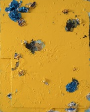 Guy Romagna yellow paintings oil paint and aluminum on honeycomb cardboard ground