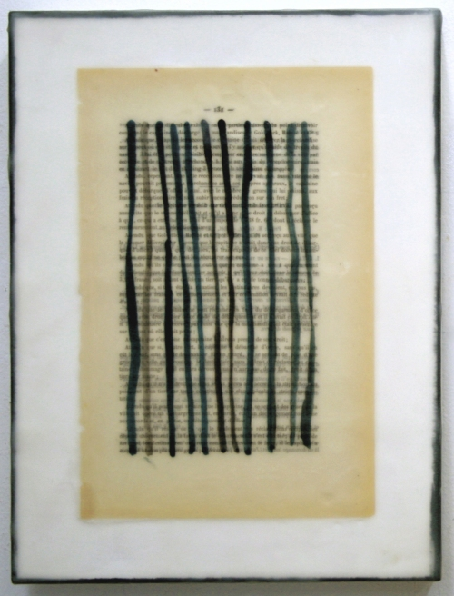 Gwendolyn Plunkett New Language Grid - Booked  Ink on old book page, encaustic medium, oil bar on panel