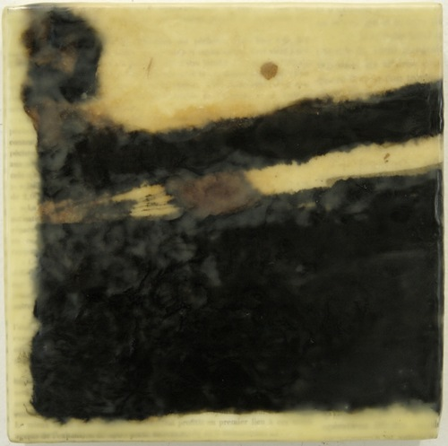 Gwendolyn Plunkett Linear A India Ink, Walnut ink on Lokta paper, old book pages, encaustic medium, Oil bar on panel