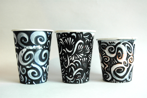 Gwyneth Leech Groups Black and white ink on colored paper coffee cups