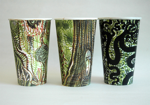 Gwyneth Leech Groups Colored India ink and Sumi ink on upcycled paper coffee cups