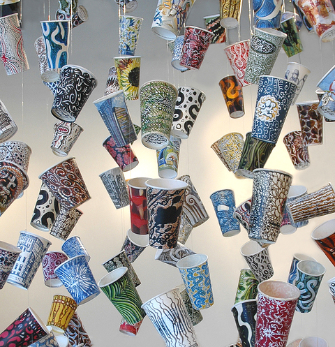 Gwyneth Leech Suspended Mixed mdia on upcycled paper coffee cups