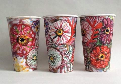 Gwyneth Leech Groups Watercolor and gouache on upcyled paper coffee cups