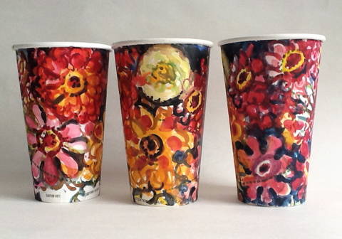 Gwyneth Leech Groups Watercolor on upcycled paper coffee cups
