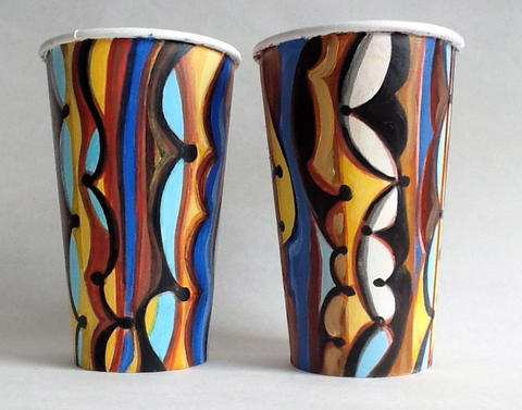 Gwyneth Leech Groups Oil paint and India ink on primed upcycled coffee cups