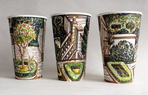 Gwyneth Leech Groups Colored India ink on upcycled paper coffee cups