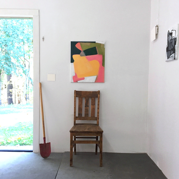 studio Open studio door and the artist as a landowner.