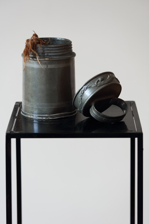 heather sheehan installation + object antique thermos with burlap, willow frond and water from Sieg River