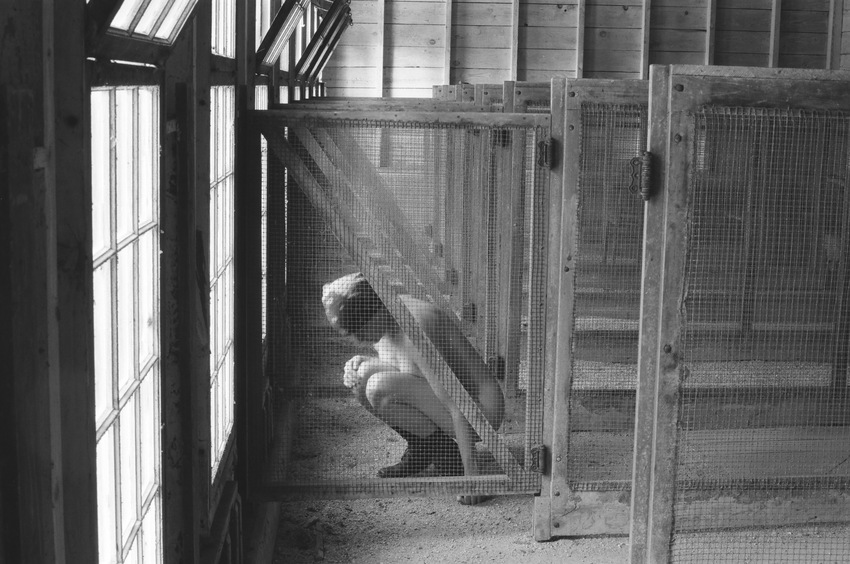 heather sheehan Forced Moulting at the Brooder House  Self-Portrait B&W 35mm Film Photography