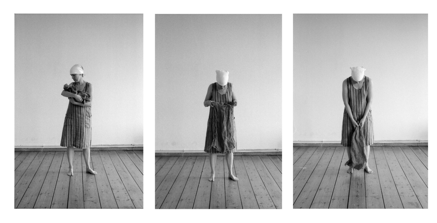 heather sheehan Barking the Willow self-portrait, B&W 35mm film photography