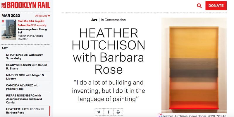 HEATHER  HUTCHISON ESSAYS AND INTERVIEWS Interview with Heather Hutchison & Barbara Rose