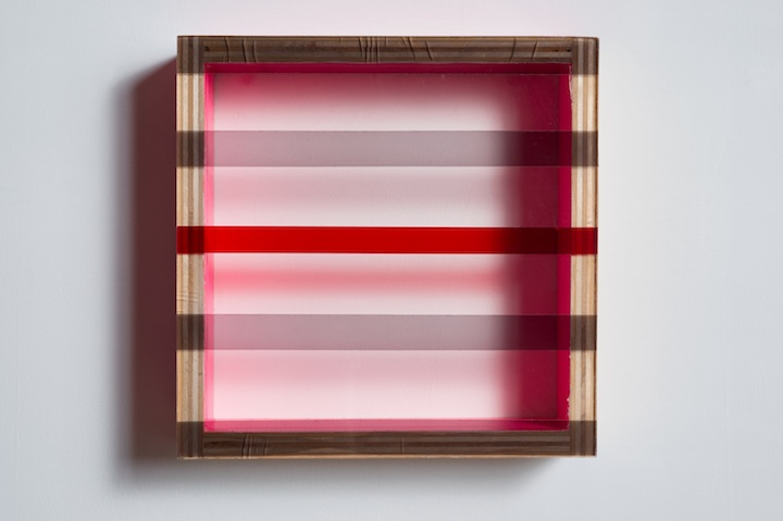 HEATHER  HUTCHISON WORKS 2010-2014  Plexiglas, birch, Pink duct tape, smoke adhesive tape, rubylith.