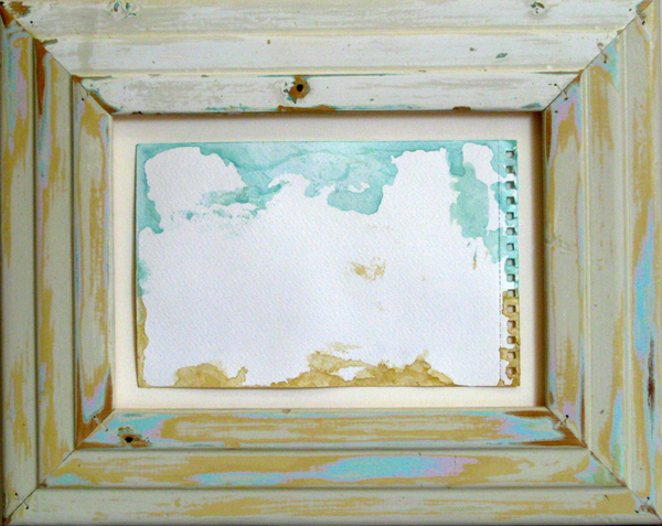 HEIDI BARKUN Paradise remembered Back of watercolour on paper, reclaimed wood frame