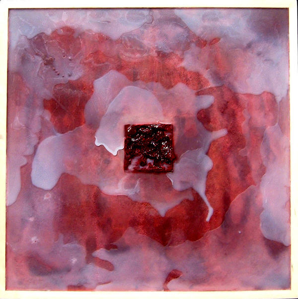 HEIDI BARKUN white with red square Beeswax, oil paint, cement on plywood; poplar frame