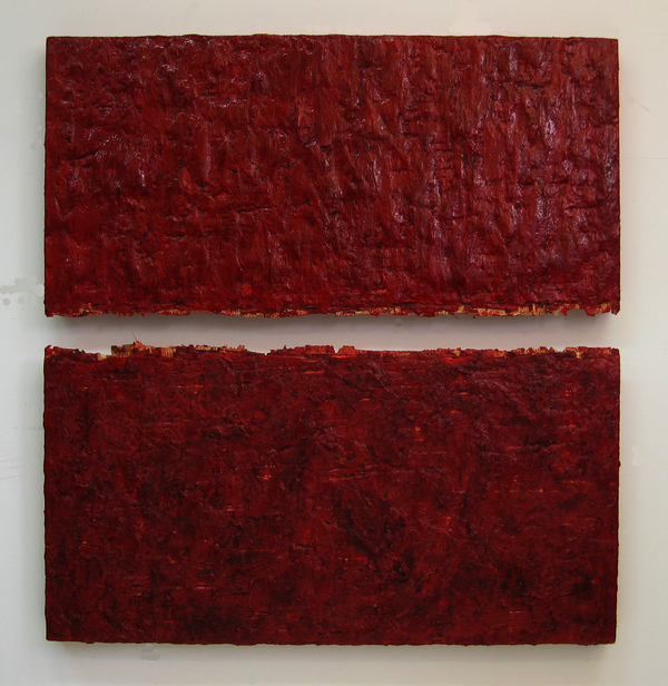 HEIDI BARKUN Rupture Beeswax, oil paint, gauze on plywood
