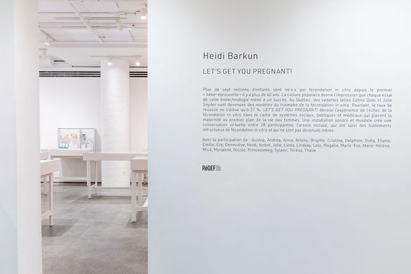 HEIDI BARKUN exhibition 6-channel soundtrack (5 hrs 54 min), 3 armchairs, 4 chairs, carpet, coffee table, lamp, drapes, teacart, plant, 3 x 2 speakers, 16 display cases, 16 place cards, medical and personal artefacts