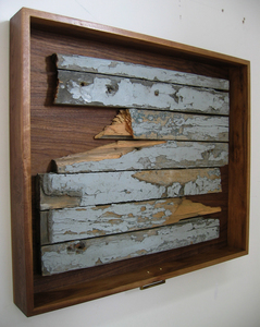 HEIDI BARKUN Mémoires Recuperated wood, hardware; dark walnut drawer