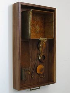 HEIDI BARKUN Mémoires Found objects, hardware; dark walnut drawer