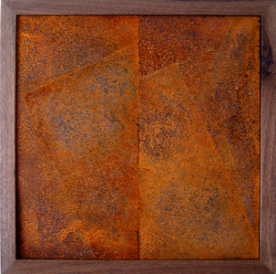 three states Rusted steel on wood; dark walnut frame