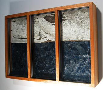 Paysages Found glass panes, beeswax, oil paint, Laurentian barn wood, plywood; mahogany box