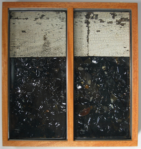Paysages Found glass panes, Laurentian barn wood, rocks from Mémphremagog lake, resin, plywood; mahogany frame