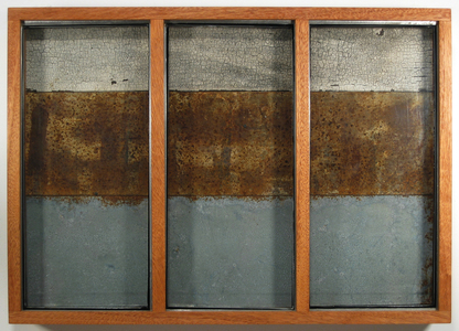 Paysages Found glass panes, Laurentian barn wood, rusted steel, rusted galvanized steel, plywood; mahogany box