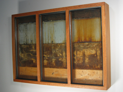 Paysages Found glass panes, rusted steel, found Mile End wood, luan, plywood; mahogany box